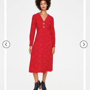 BODEN Elsie Button Spot Red Poinsettia Midi Dress